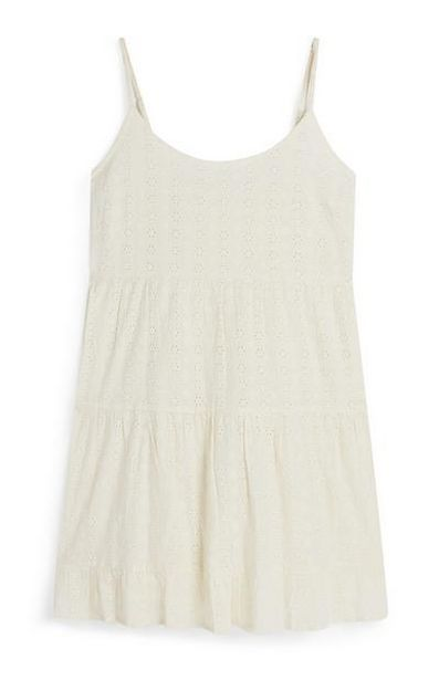 Ecru Strappy Tiered Eyelet Mini Dress offer at $18