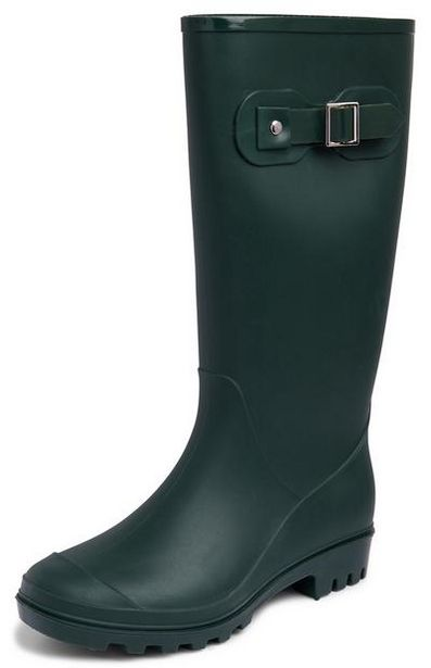 Dark Green Buckle Rain Boots offer at $15