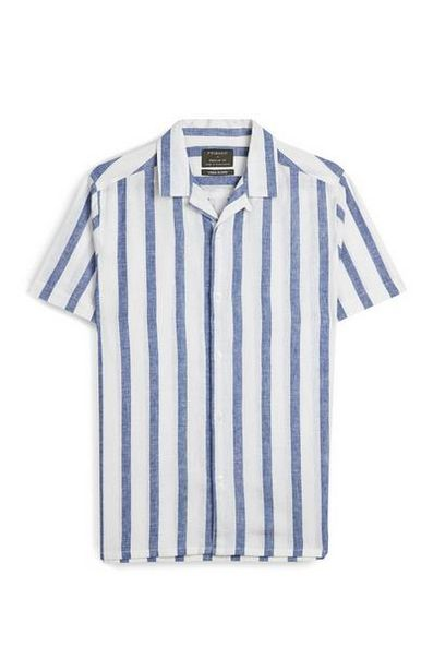 White And Blue Striped Short Sleeve T-Shirt offer at $17