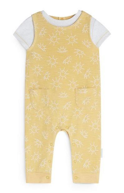 Newborn Yellow Sunshine Print Romper Set offer at $15