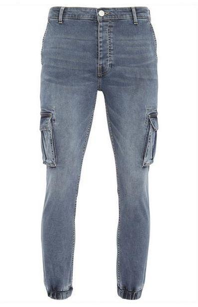 Smokey Blue Denim Cuff Cargo Jeans offer at $26