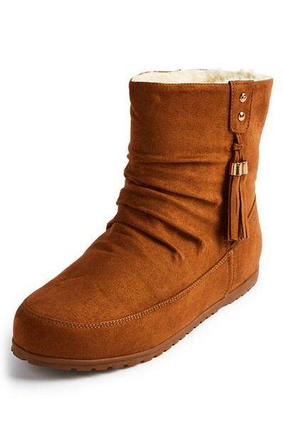 Tan Side Tassel Boots offer at $11
