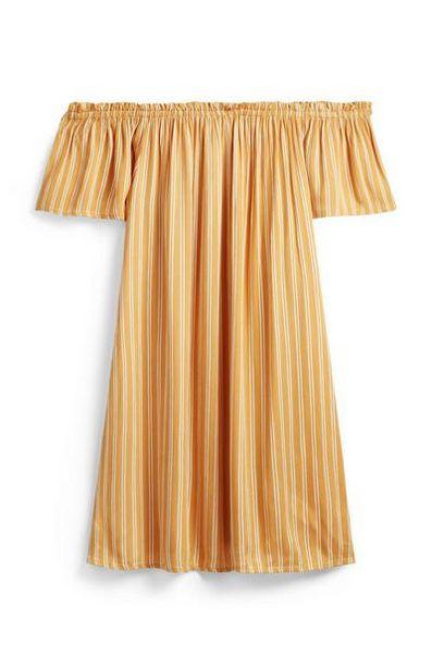 Yellow Striped Bardot Mini Dress offer at $10