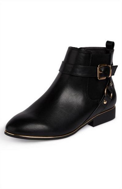 Black Faux Leather Buckled Chelsea Boots With Goldtone Detail offer at $18