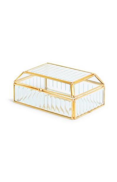 Fluted Glass Jewelry Box offer at $8