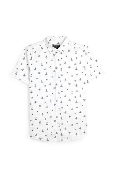 White Anchor Print Short Sleeve Shirt offer at $11