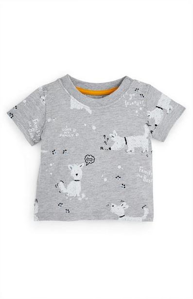 Baby Boy Gray Family Dog T-Shirt offer at $3