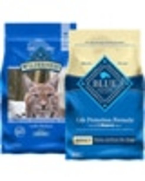 On any ONE (1) bag of BLUE dog or cat food deals at $3