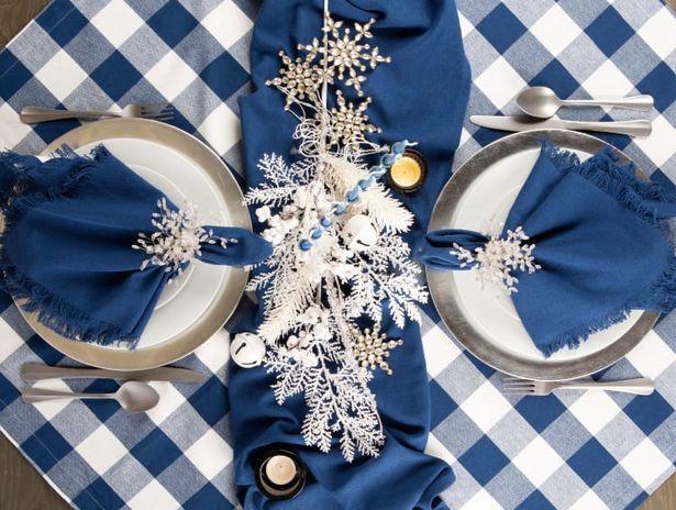 Navy Buffalo Check Tablecloth 60x104 deals at $38.99