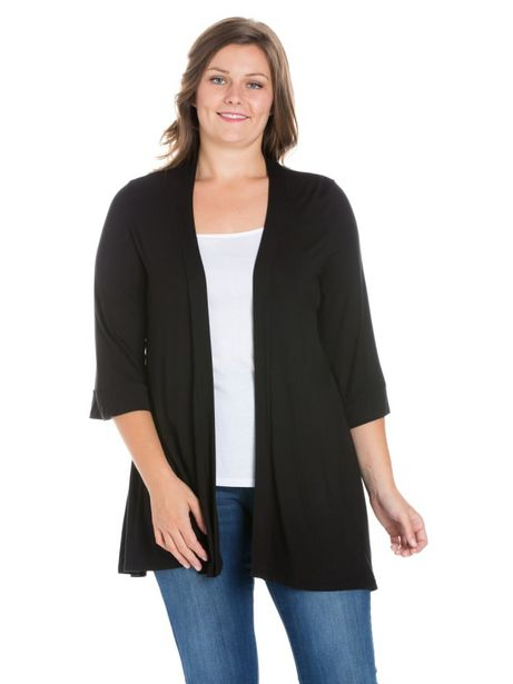 24Seven Comfort Apparel Elbow Length Sleeve Open Front Plus Size Cardigan deals at $42.95
