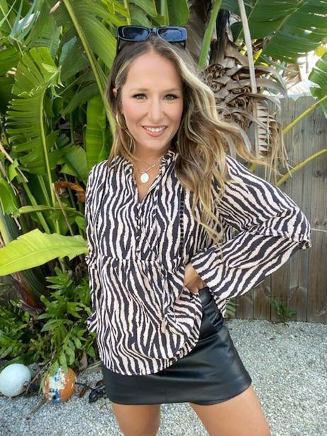 Longsleeve Zebra Print Blouse deals at $39.95