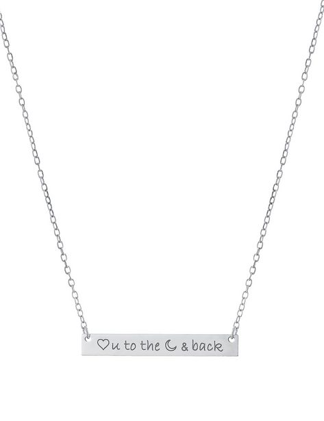 """Sterling Silver 16+2"""" Love You To The Moon & Back Bar Necklace deals at $3495"""