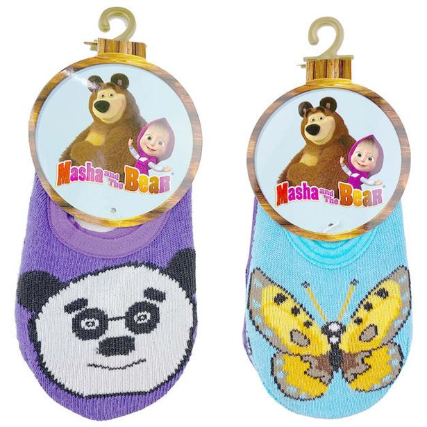 Masha And The Bear Kid's Unisex Panda / Butterfly Anti-Slip 2 Pair Ankle Socks Casual & Dress Sock - 0-2 Years deals at $1399