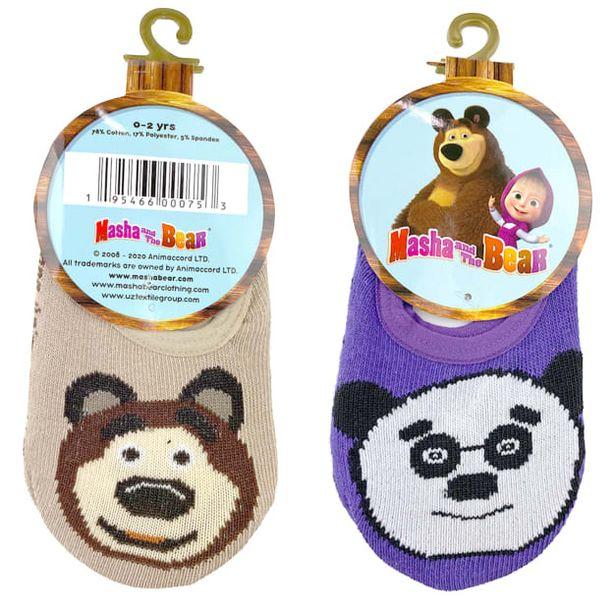 Masha And The Bear Kid's Unisex Bear / Panda Anti-Slip 2 Pair Ankle Socks Casual & Dress Sock - 0-2 Years deals at $1399
