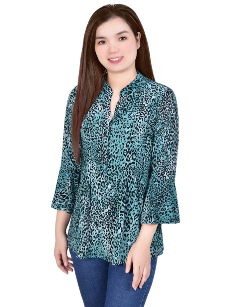 3/4 Bell Sleeve Pleat Front Y Neck deals at $34.95