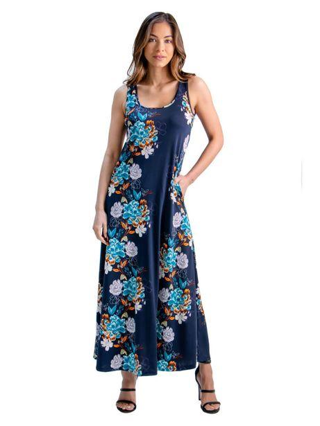 24Seven Comfort Apparel Floral Print Sleeveless Pocket Maxi Dress deals at $50.95