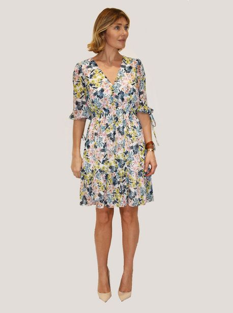 Taylor Floral Print Dress with Smocked Waist and Ruffle Hem deals at $4499