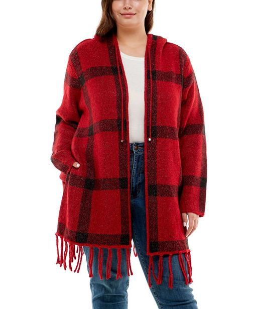 Adrienne Vittadini With Hood and Fringe Detail Cardigan deals at $61.95