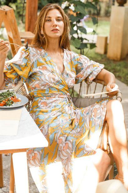 Set Sail Puff Sleeve Wrap Midi Dress deals at $131.95