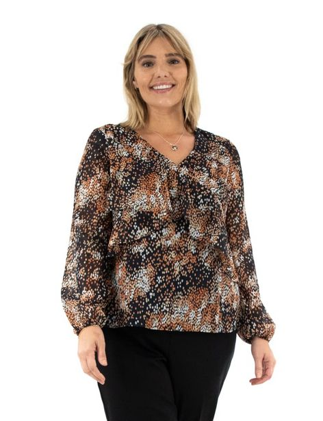 Zac & Rachel Long Sleeve Novelty Wrap Front Blouse deals at $44.95