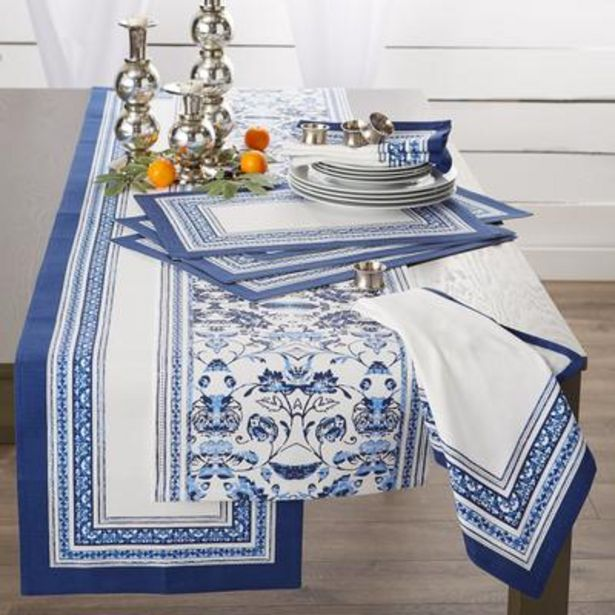 Porto Stripe Print Table Runner 14x72 deals at $2595