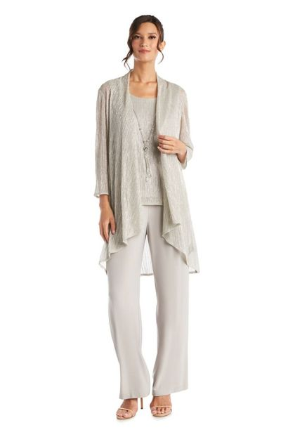 Three Piece Champagne Crinkle Duster Pant Set deals at $130.95