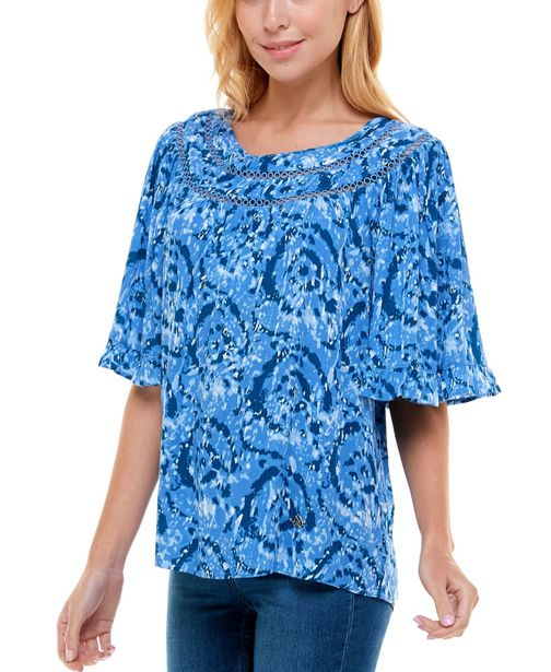 Short Flutter Sleeve with Round Yoke Blouse deals at $49.95