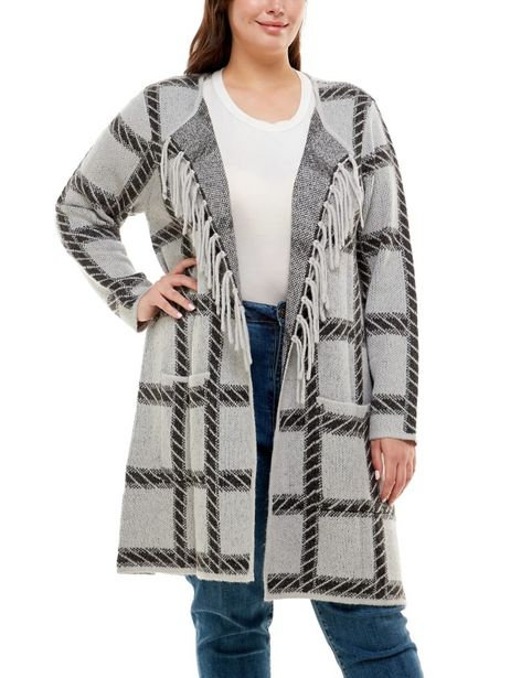 Adrienne Vittadini With Pockets and Fringe Trim Cardigan deals at $61.95