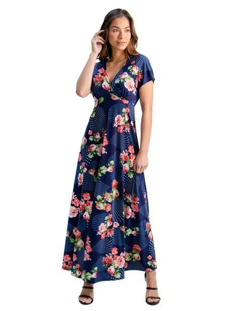24Seven Comfort Apparel Floral Cap Sleeve Empire Waist Maxi Dress deals at $56.95