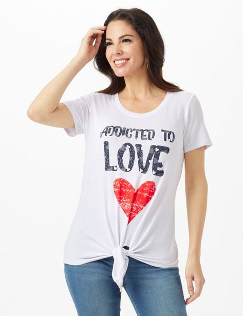 Addicted to Love  Tie Front Screen Tee deals at $9.99