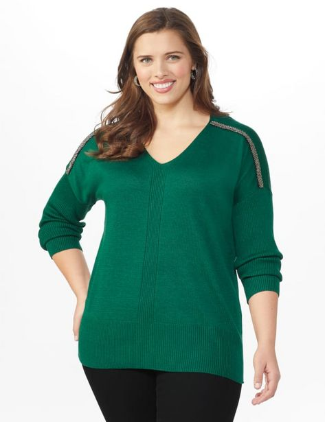 Beaded Sweater Tunic - Plus deals at $4495