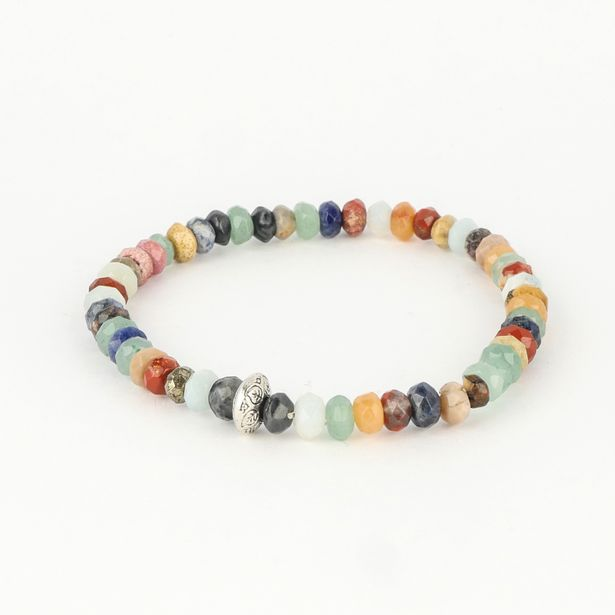 Dell Arte by Jean Claude 8 And 6 Mm  Rare Faceted Rondelle Agate, Aventurine And Jasper Beads Bracelet deals at $4995