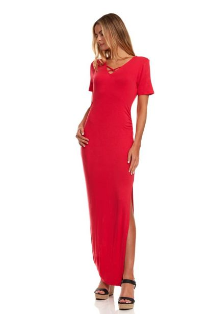 Ruched Side Maxi Dress With Criss-Cross Detail deals at $3995