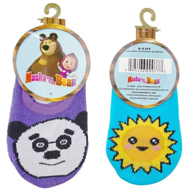 Masha And The Bear Kid's Unisex Sun / Panda Anti-Slip 2 Pair Ankle Socks Casual & Dress Sock - 0-2 Years deals at $1399