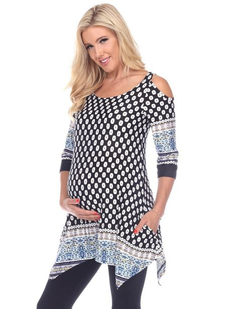 Maternity Printed Cold Shoulder Tunic - Plus deals at $60.95