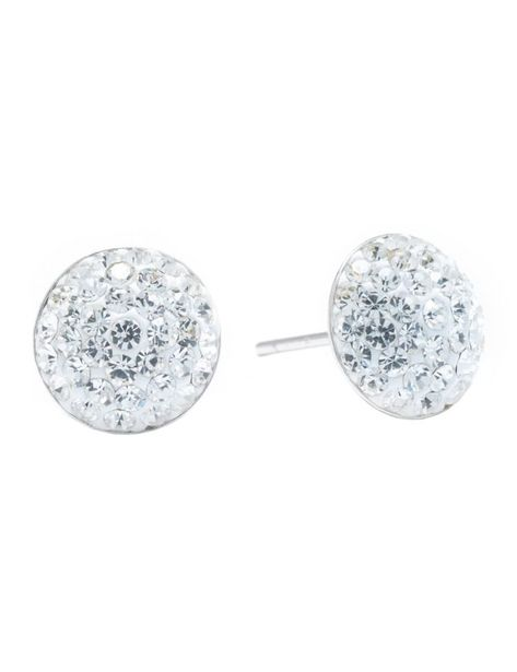 Sterling Silver 9mm Crystal Half Ball Stud Earrings deals at $22.95