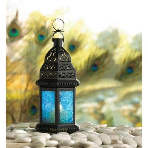 Blue Glass Moroccan Style Lantern deals at $2895