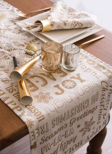 Gold Christmas Collage Table Runner 14x108 deals at $13.99