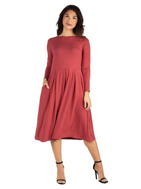 24Seven Comfort Apparel Midi Length Fit N Flare Pocket Dress deals at $49.95
