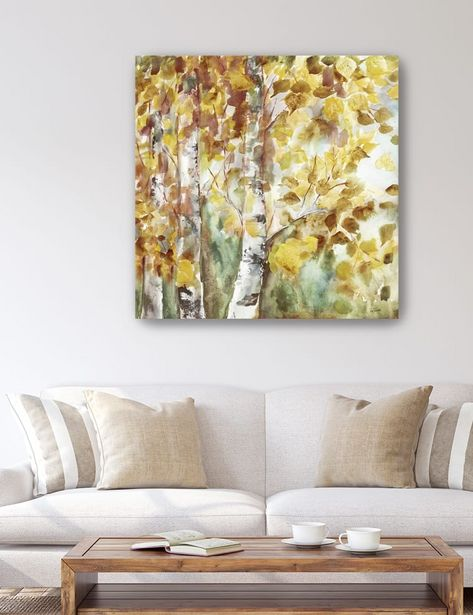 Watercolor Fall Aspens Square Canvas Giclee deals at $65.95
