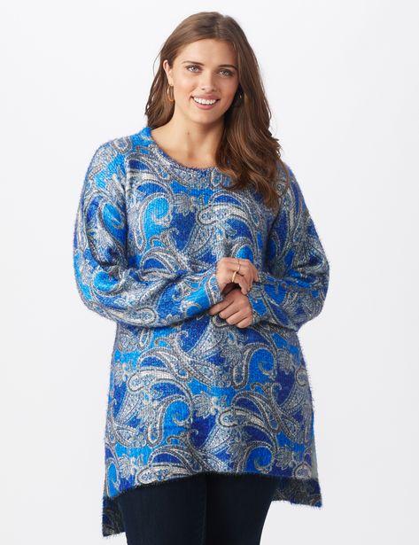 Paisley Eyelash Tunic Sweater - Plus deals at $2995