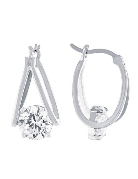 Boxed Fine Silver Plated 21mm Cubic Zirconia Split Clicktop Hoops deals at $29.95