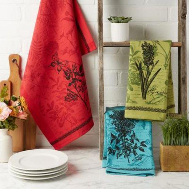 "Botanical Print Kitchen Textiles, 18x28"", Botanical Flowers, 3 Pieces deals at $1995"