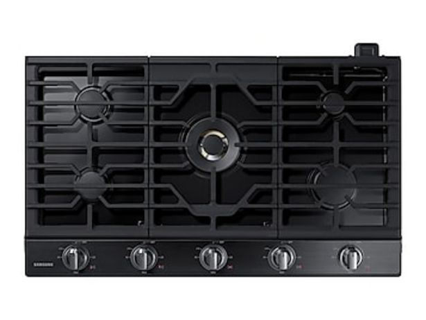 """36"""" Smart Gas Cooktop with 22K BTU Dual Power Burner in Black Stainless Steel deals at $1664"""