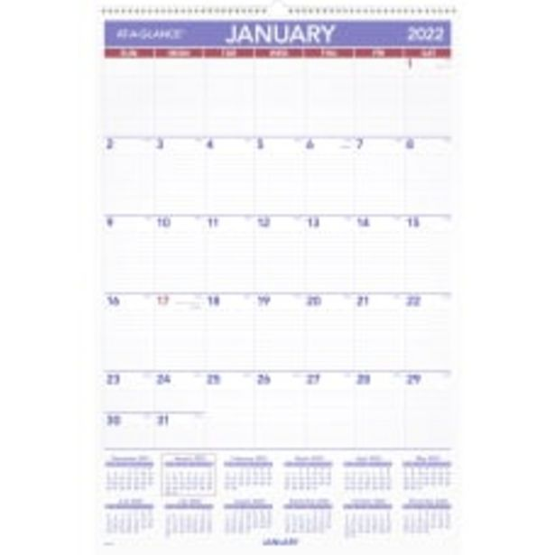 AT A GLANCE Monthly Wall Calendar deals at $30.99