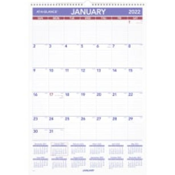 AT A GLANCE Monthly Wall Calendar deals at $23.99