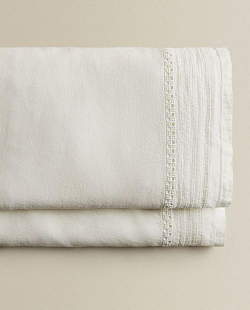 Embroidered Linen Flat Sheet deals at $89.9