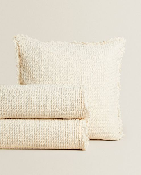 Waffle Knit Bedspread With Lace Trim deals at $49.9