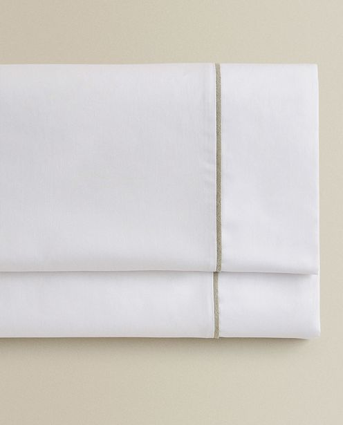 (400 Thread Count) Sateen Flat Sheet With Linen Piping deals at $69.9