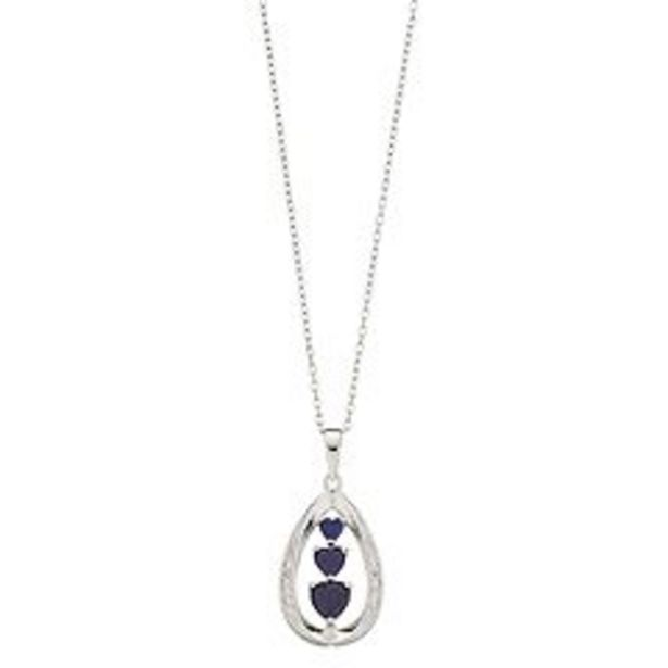 RADIANT GEM Sterling Silver Lab-Created Sapphire & Diamond Accent Triple Heart Teardrop Pendant deals at $29.99